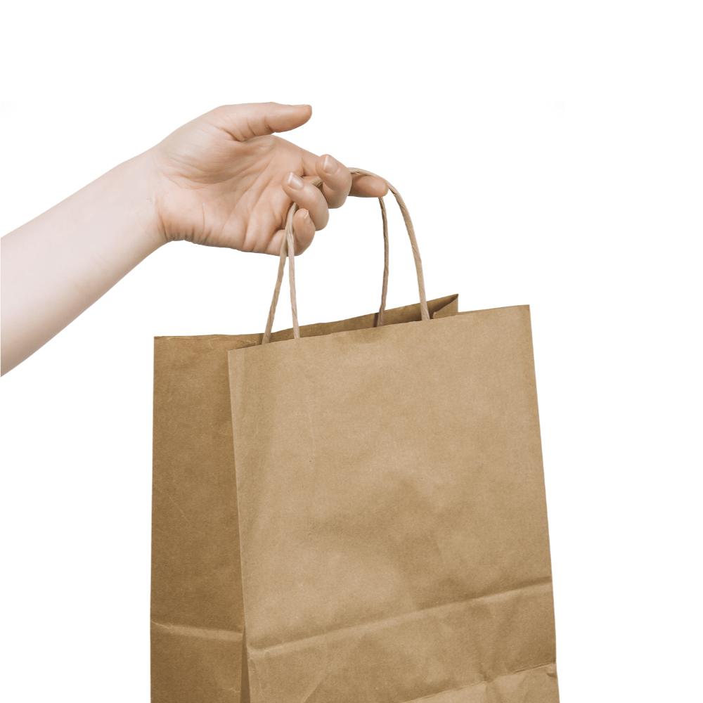 Hand Holding Paper Bag Mockup
