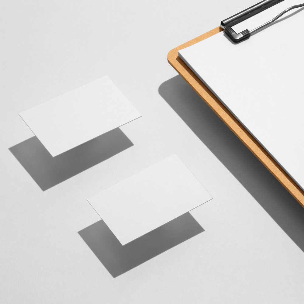 Clipboard and Business Cards Mockup