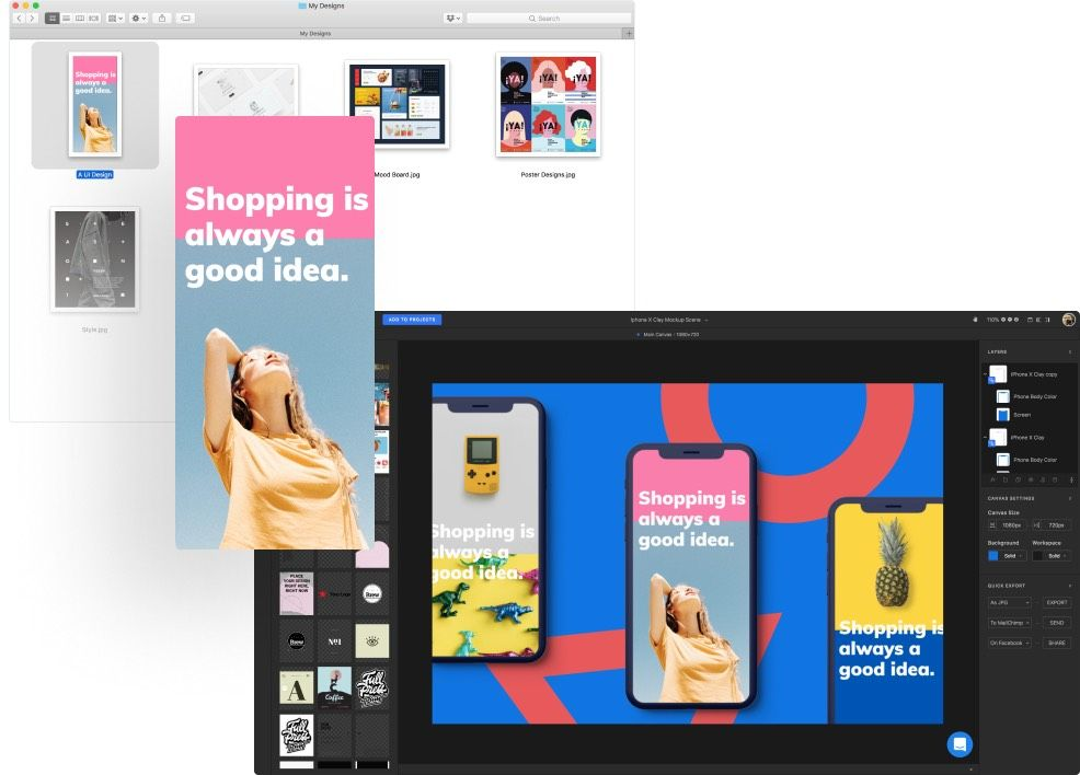 Upload your own designs and create the best mockups
