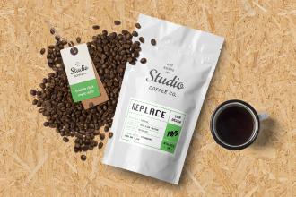Coffee Packaging and Branding Mockup Scene