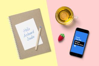 Notebook and Phone Mockup Scene