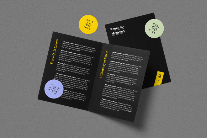 Folded Brochure Mockup Scene