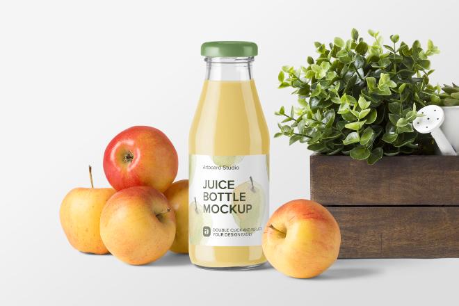 Apple Juice Bottle Mockup Scene