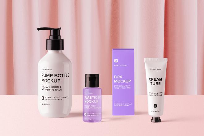 Cosmetic Packaging Mockup Scene