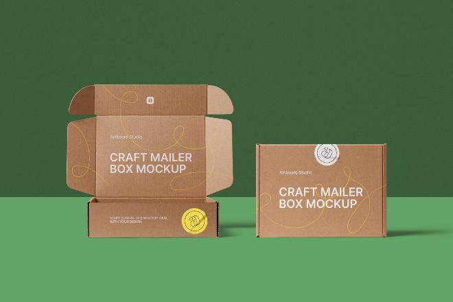 Craft Mailer Box Mockup Scene