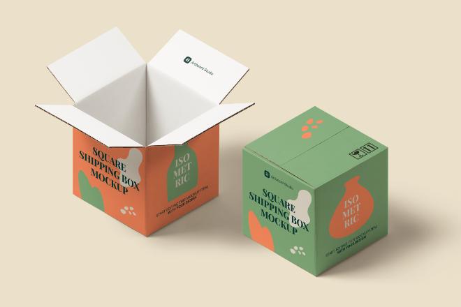 Isometric Square Shipping Box Mockup Scene