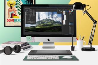 Designer Workplace Mockup Scene
