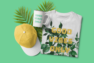T-shirt,Hat and Cup Mockup Scene