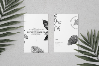 Paper Mockup Scene With Leafs
