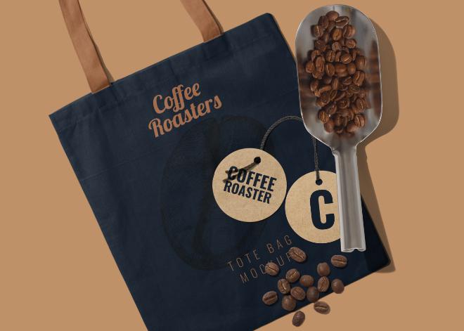 Coffee Brand Tote Bag Mockup Scene
