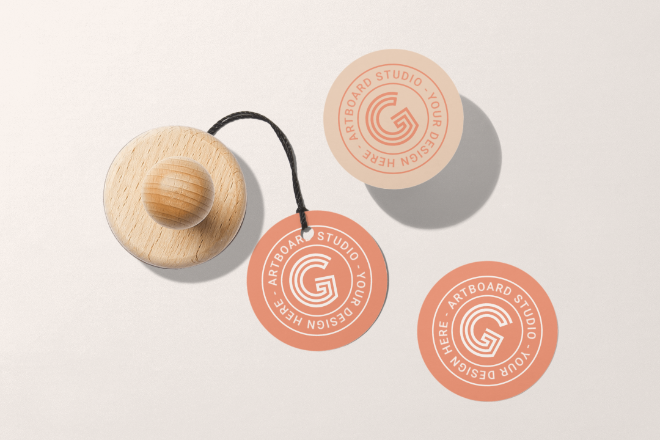 Rounded Labels and Stamp Mockup Scene