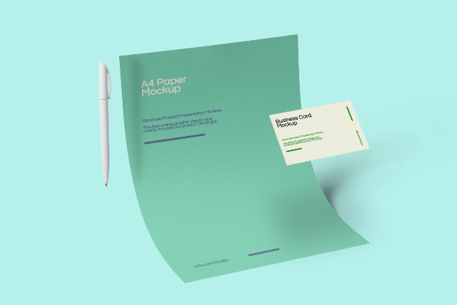A4 Paper and Business Card Mockup Scene