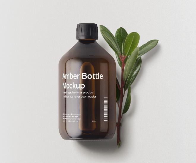 Amber Glass Bottle Mockup Scene