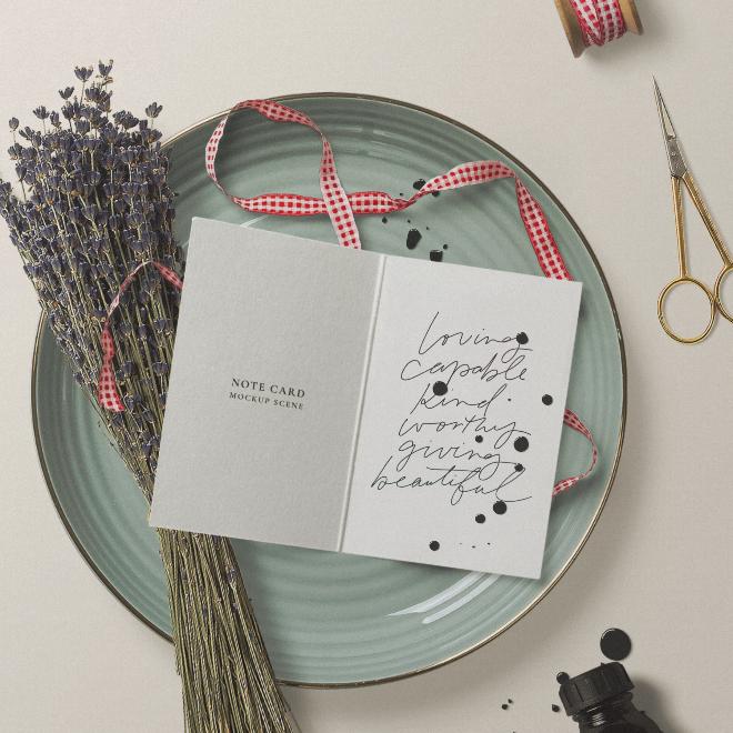 Folded Card Mockup Scene