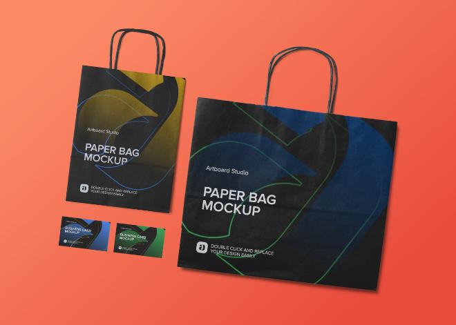 Paper Bag and Business Card Mockup Scene