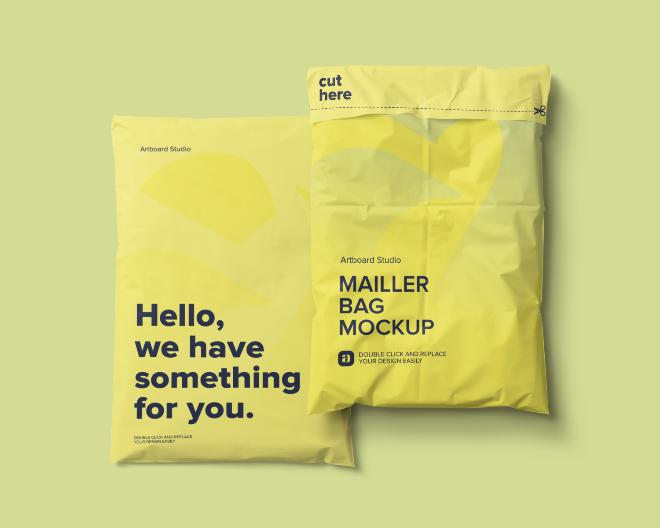 Mailer Bag Package Mockup Scene