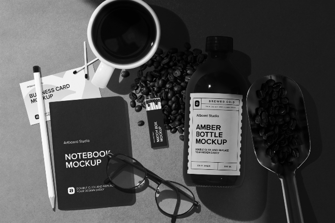 Coffee Package and Notebook Mockup Scene