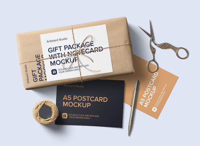 Gift Package with Postcards Mockup Scene