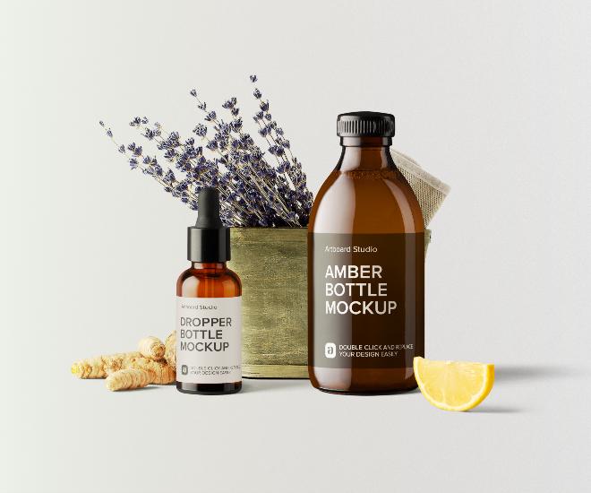 Skincare Oils Package Mockup Scene