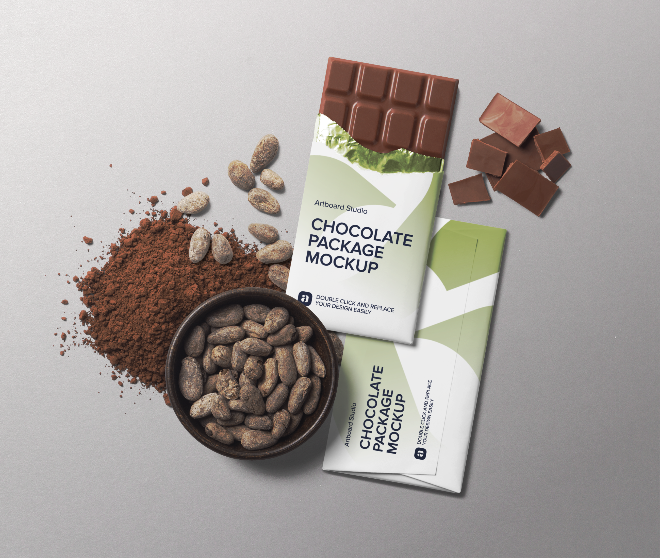 Chocolate Package and Cacao Beans Mockup Scene