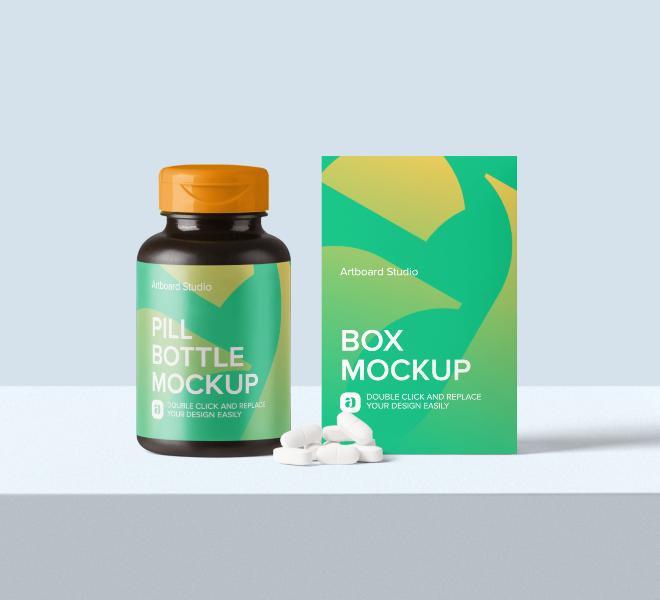 Pill Bottle and Box Mockup Scene