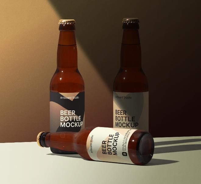 Hard Shadow Beer Bottle Package Mockup Scene