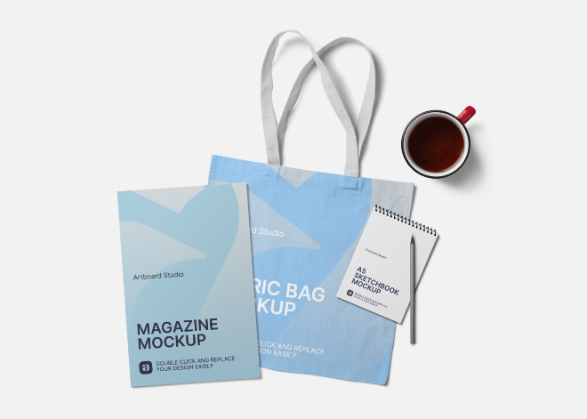 Magazine and Fabric Bag Mockup Scene