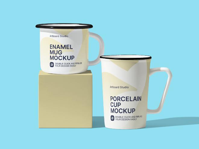 Enamel Mug Mockup Scene