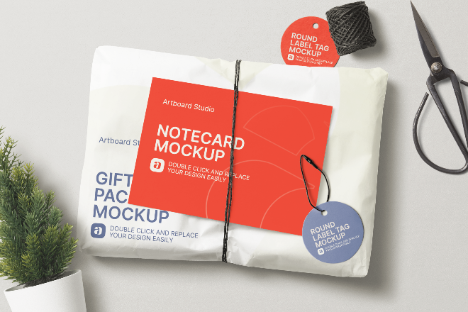 Gift Package and Round Label Tag Mockup Scene