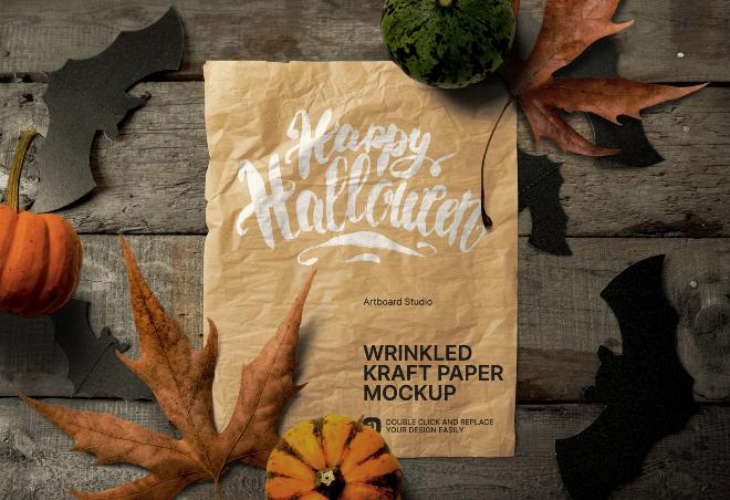 Halloween Themed Wrinkled Kraft Paper Mockup Scene