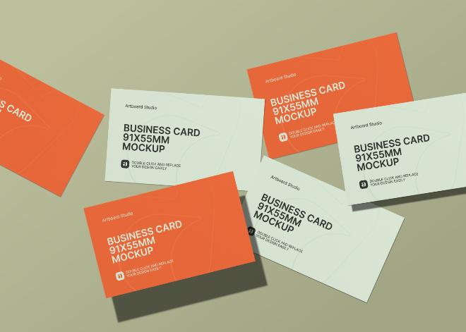 Business Card (91x55mm) Mockup Scene