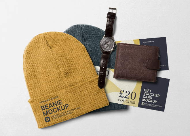 Beanie Apparel and Gift Voucher Card Mockup Scene