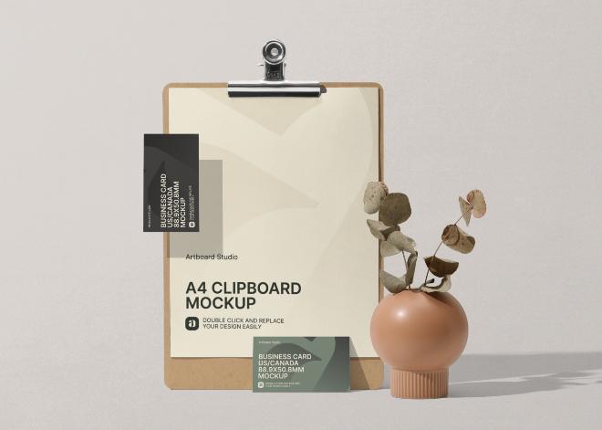Clipboard and Business Card Mockup Scene