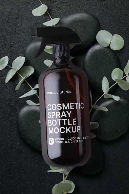 Cosmetic Spray Bottle Mockup Scene
