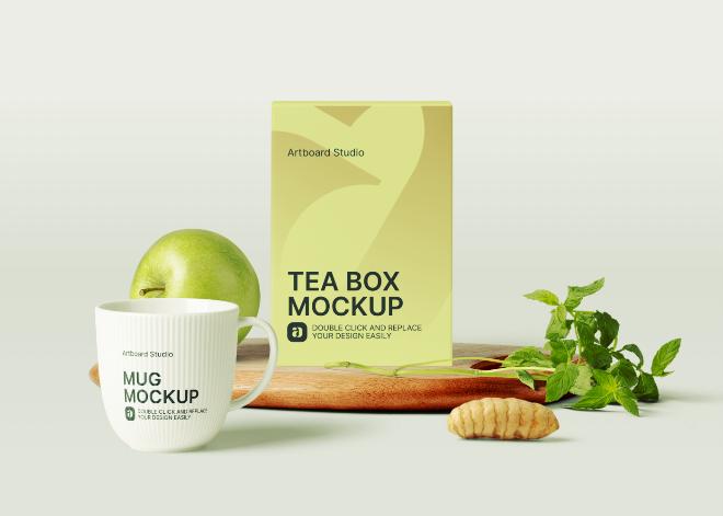 Tea Box and Mug Mockup Scene