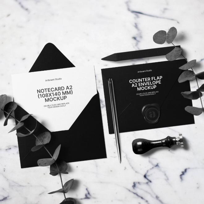 Monocrom Counter Flap A2 Envelope Invitation Mockup Scene