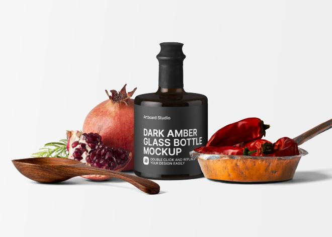 Dark Amber Glass Bottle Mockup Scene