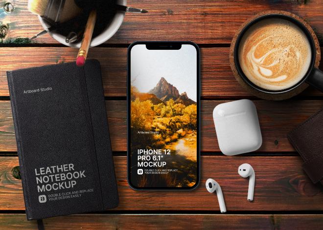 iPhone 12 Pro on Table Mockup Scene