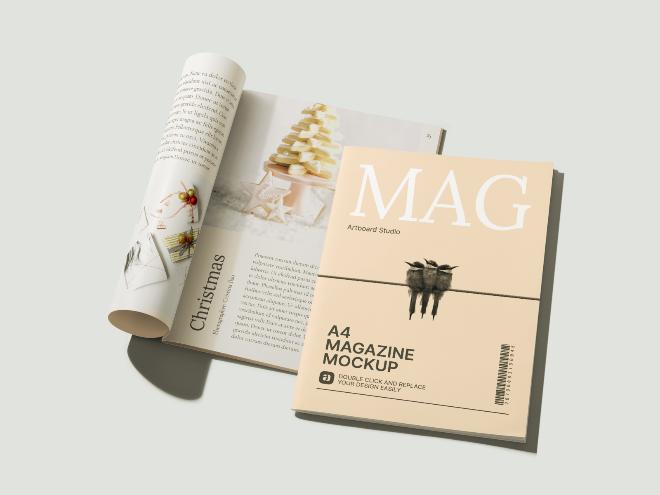 Perspective A4 Magazines Mockup Scene