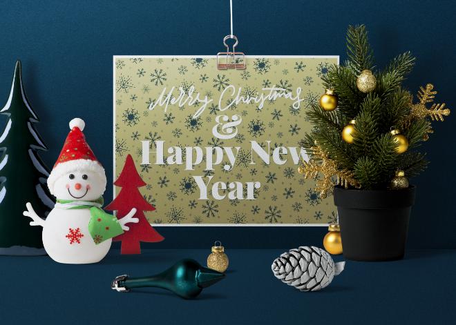 Clipped Christmas Card Mockup Scene