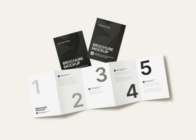 4-Fold Brochure Mockup Scene