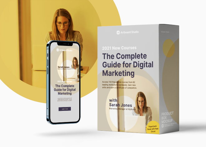Digital Course Product Box and App Mockup Scene