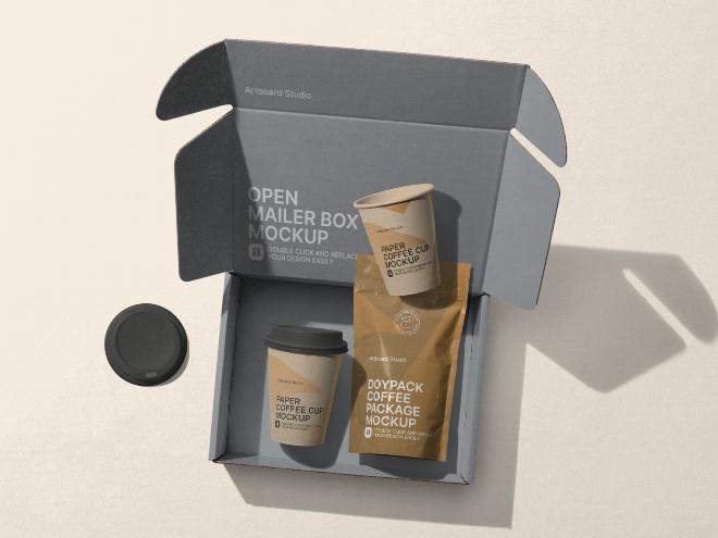 Coffee Packaging Set Mockup Scene