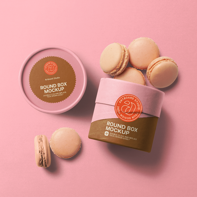 Round Box and Macarons Packaging Mockup Scene