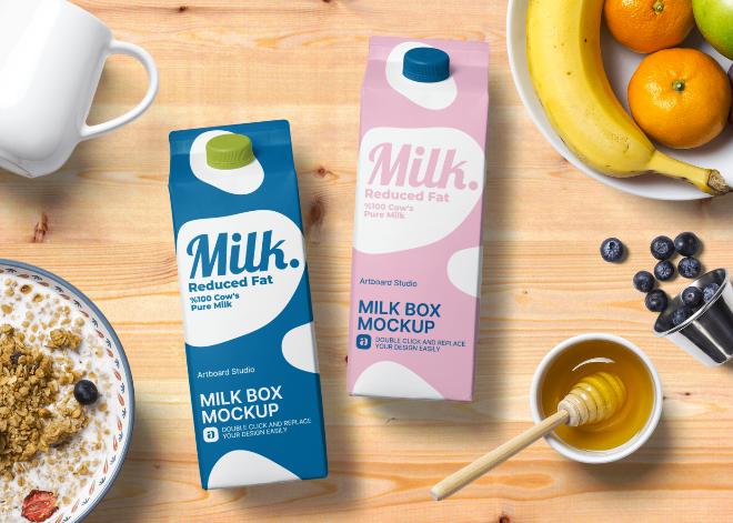 Milk Box Mockup Scene