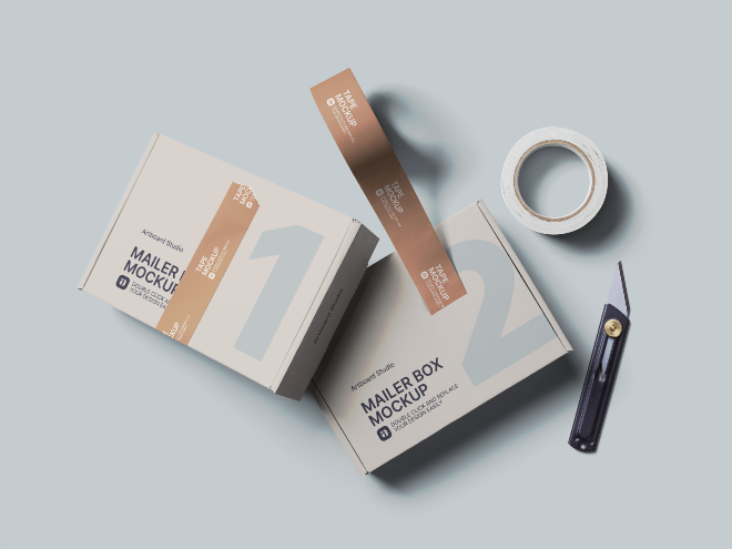 Mailer Box and Tapes Mockup Scene