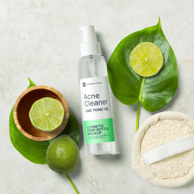 Skin Cleaner Cosmetic Pump Bottle Mockup Scene