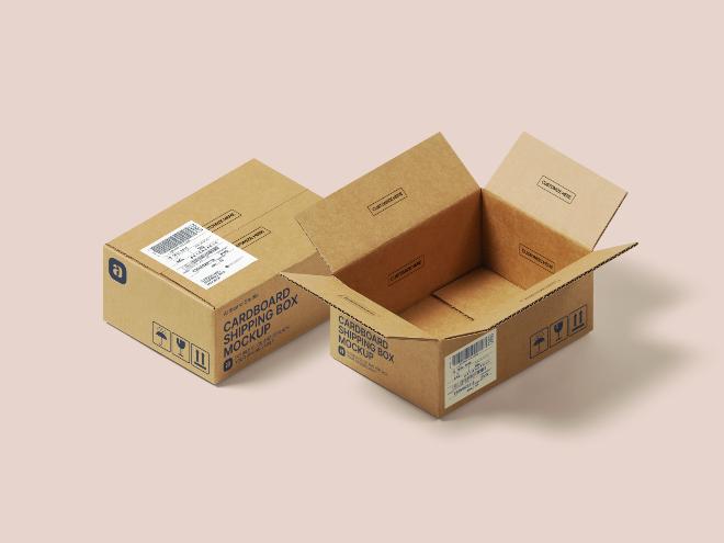 Cardboard Shipping Box Mockup Scene