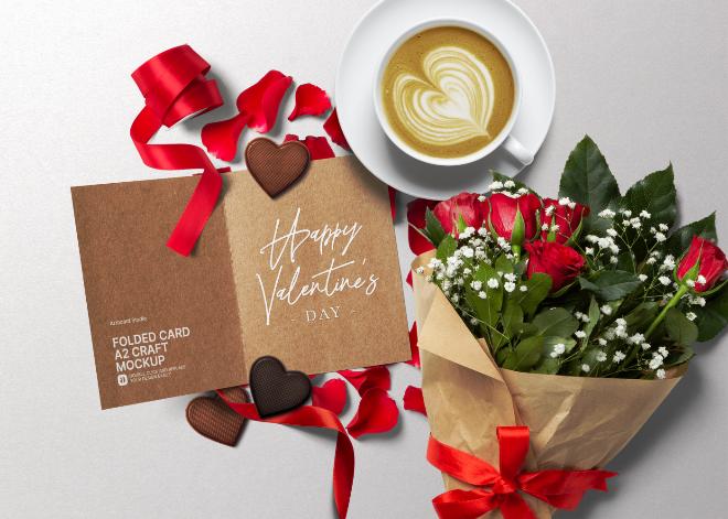 Valentine's Day Folded Card Mockup Scene