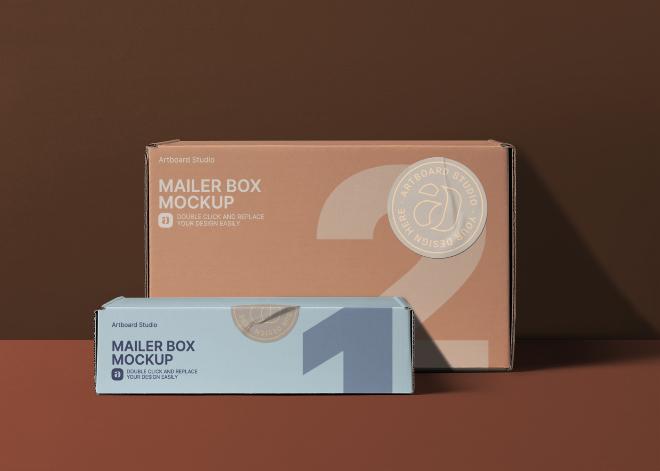Mailer Boxes Mockup Scene
